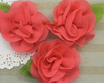 """Coral Mini Camellia Flower with leaf (3 pcs) Small 2.5"""" Coral Fabric flower embellishment  headband flower applique accent flower"""