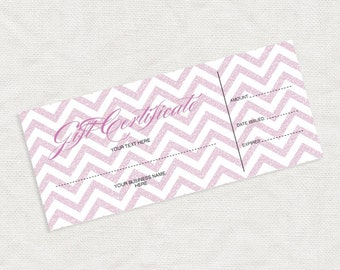 printable gift certificate pink glitter chevron business marketing promotion printable editable file or last minute gift idea christmas