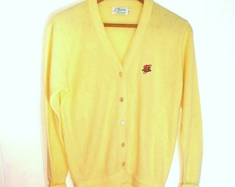 Vintage Mens Cardigan Button Up Large Sweater Soft Lemon Yellow Knit Preppy Grandfathers Preppy Mens Fashion Jumper Made in USA