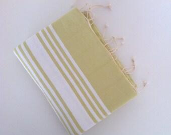 Turkish Towel and Head Towel Set, Natural Peshtemal and Peshkir, bath, Hammam, for her, bathroom, beach, light pistachio green,