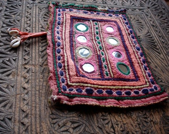 Banjara Indian mirror embroidery piece patch square (A)