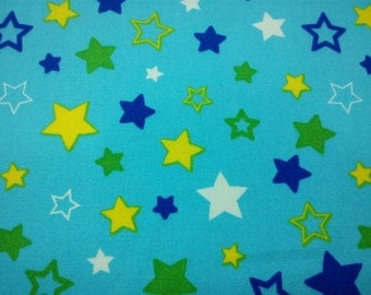 Stars, aqua, fat quarter, pure cotton fabric