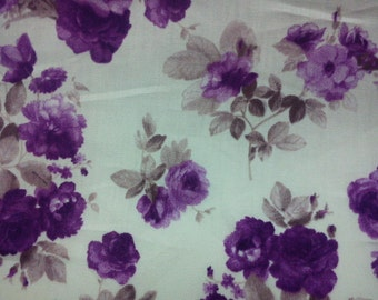 Purple rose and brown leave, white, 1/2 yard, pure cotton fabric