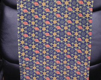 SHIPPO TREASURE    Vintage Japanese Kimono silk fabric  circle pattern  Indigo Blue, Red Orange  Golden Yellow  14 x 62 inches