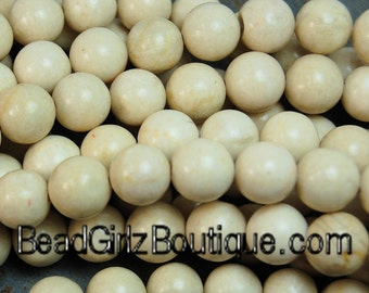 Fossil Beads, 10mm Fossil Stone in Natural Cream -16 inch strand