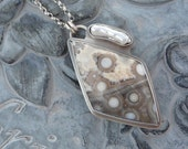 Ocean Jasper and Biwa Stick Pearl Sterling Silver Necklace