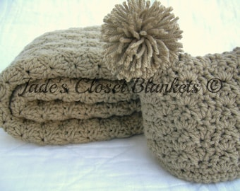 Baby Gift Set, Crochet Baby Travel Blanket and Hat Gift Set, Light Brown, Taupe, Khaki, Beige, Neutral