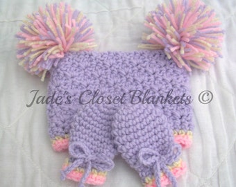 Crochet Baby Pom Pom Hat and Thumbless Mittens Set, Lilac Purple, Cream, and Soft Pink, 0 to 24 months