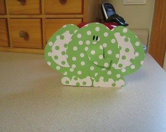 Elephant Favor Boxes in Lime and White Polka Dots Set of 10