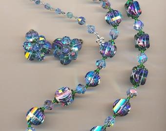 Dazzling and rare vintage Vendome necklace and earring set - super-rare vintage Swarovski wistaria pagoda crystals
