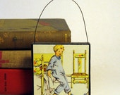 SLEEPY HEAD ORNAMENT Handmade Ornament from Vintage Upcycled Book Childrens Reader Christmas Ornament Gift for Boy