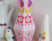 Pink, Printable, Paper vase, Ellen Giggenbach