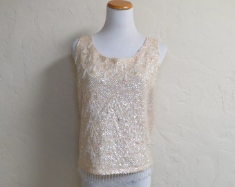 Vintage 1960s Iridescent Sequins Beaded Sweater Tank 36 Bust