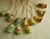 11 Vintage Easter Tree Ornaments Resin Ornaments With Hanging String Chicks Peeps Eggs Rabbits and Bunnies Easter Tree Decor Supplies