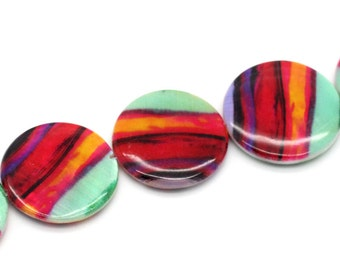 4 Multi-Color Shell Flat Beads - 25mm