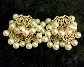 Vintage pearl dangle clip-on costume earrings
