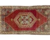 1.5x3 Vintage Distressed Anatolian Rug Runner