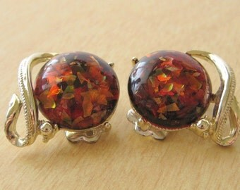 Confetti Earrings in Amber Gold Tone Metal Clip Ons by Coro