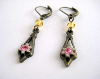 Victorian Edwardian Brass Earrings Pink