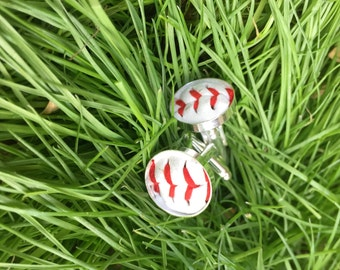 Played game ball MLB baseball Milwaukee Brewers Manly man sports fanatic hand crafted cuff links