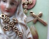 Vintage Brass Daisy Cross
