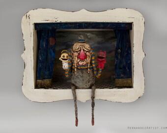 Lectio De Bono Et Malo - Polymer clay, wood, Handmade Sculpture, Art.