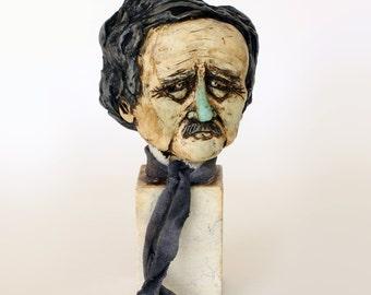 Edgar Allan Poe  - Handmade Sculpture, Polymer Clay, Marble,