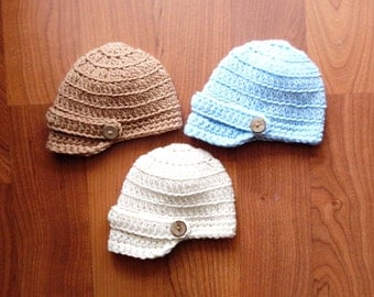 Newsboy Cap Baby Boy or Baby Girl Crochet Hat and Photography Prop All Sizes from Newborn to Adult