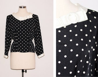 Japanese Vintage Navy & White Polkadot Blouse with Bow Detail