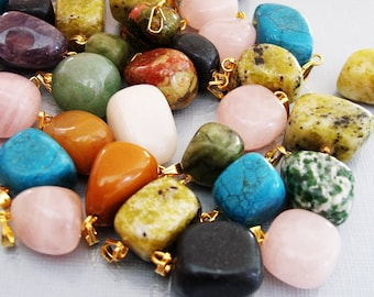 Natural Gemstone Pendants Charm Nuggets Mixed Colors with Gold Bail.