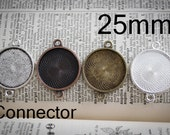 6 Round 1 inch Connector  Photo frame Pendant charms for charm bracelets, family photos and wedding bouquets -  bezel Lead and Nickel Free