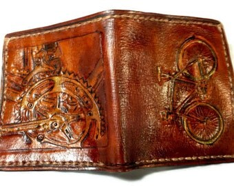Bike Wallet - Leather - Bicycle Wallet - Bicycle Gift - Cycling - Sport Gift - Steampunk Gift. Holds 12 Credit Cards, 2 Bill Slots