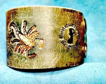 Scorpion Bracelet - Scorpion Cuff - Scorpio - Leather Cuff - Leather Bracelet - Leather Accessories - Leather Men - Leather Cuff Bracelet