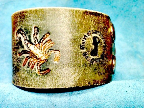 Scorpion Bracelet - Scorpion Cuff - Scorpio - Leather Cuff - Leather Bracelet - Leather Accessories - Leather Men - Leather Cuff Bracelet