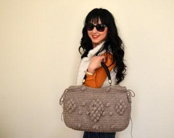 Handknit bag Buff Knit Bag, Celebrity Style,Crochet moms bag, fashion Tote Handmade Bag Unique Bag  Handwork Bag Girlfriends Free Shipping