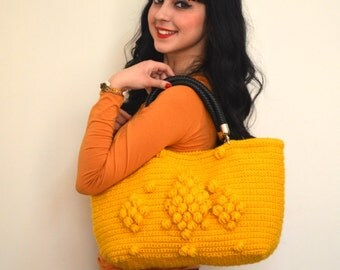 Valentines day gift-Handmade Mustard Yellow  Knit Bag,Crochet moms bag,satchel, fashion Tote Handmade Bag Unique BagCelebrity