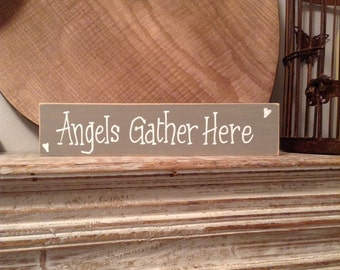 Wooden Sign, Plaque, Shabby Chic Sign/Plaque - Wedding Photo Prop - Hand-painted 'Angels Gather Here'