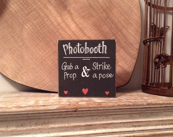 Chunky Wooden Sign - 10cm square - hand-painted - Photobooth