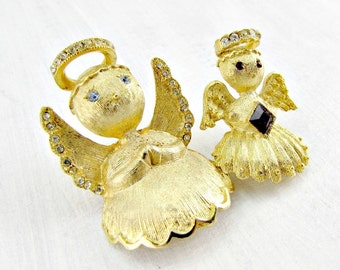 Vintage Gold Angel Brooch Pins, Designer ULTRA, Rhinestone Angel Figural Brooches, 1950s Christmas Costume Jewelry, Gift for Mom Grandma