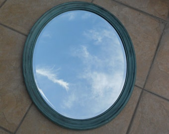Large Oval Wood Framed Oval Mirror - Shabby Grungy - Upped in Antiqued Icy Blue