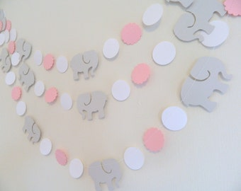 Elephant Baby Shower Decorations / Gray Elephant Nursery Decoration   Pink  And Gray Garland / Custom