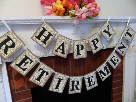 Happy Retirement Banner Retirement Party Signs Damask