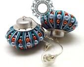 3D Soutache earrings (blue/orange)