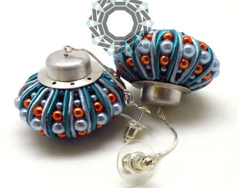 3D Soutache earrings (blue/orange)