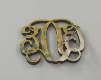 Peel and Stick Laser Cut Vine Connected Wooden Monogram Letters