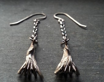 Bat Claw Earrings - Sterling silver - Organic Forms Collection