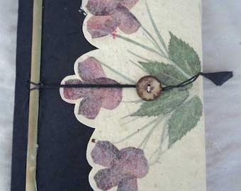 LKJ05 Black Color Leaf Design Lokta Paper Journal Book