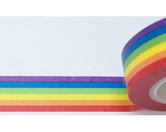Bright Rainbow ROYGBIV Washi Tape 11 yards 10 meters 15 mm Solid Rainbow Stripes Colorful Rainbow