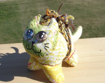 Japanese Maple leaves Odd-eyed lucky cat plush with a bug toy art doll neko homeless kitty