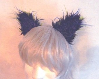 Black blue and lime Cat Ears cosplay fuzzy patchwork batik colorful ears headband rave catboy kawaii unisex hair accessory